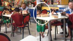 가난한 아이들에게 햄버거 사준 남성, 아이들 중 한 명은 햄버거를 남겼다