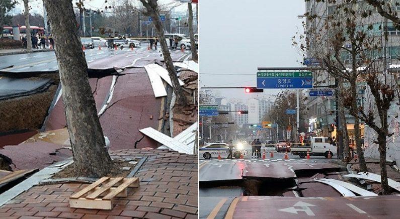 경기도 일산에서 '20m 길이' 도로가 통째로 주저앉았다