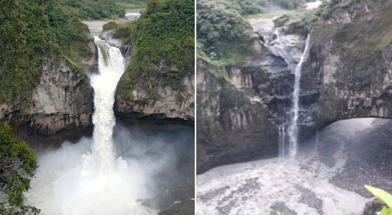 에콰도르 최대 폭포가 한순간에 '증발'했다 (위성 사진)