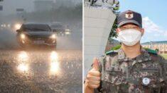 빗길 교통사고로 의식 잃은 운전자를 전투화로 차 유리 부숴 구출한 군인